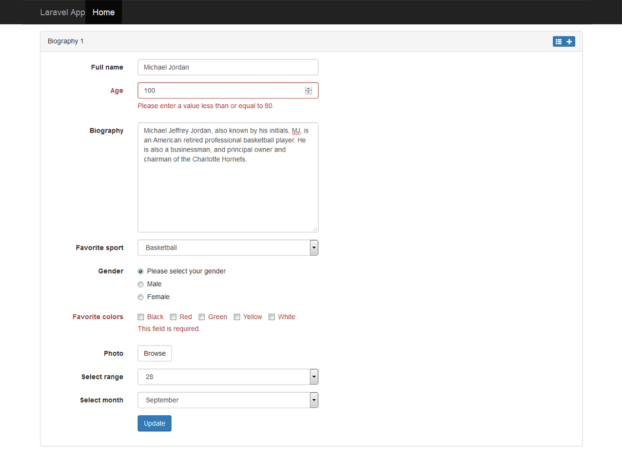 Edit form example client-side validation